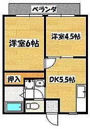 神奈川県横浜市泉区中田南1の賃貸アパートの間取り