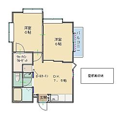 西武池袋線 清瀬駅 徒歩10分の賃貸アパート 2階2DKの間取り