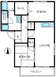 兵庫県宝塚市口谷西2丁目の賃貸マンションの間取り