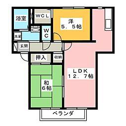ハイツジュエイユーII A棟[1階]の間取り
