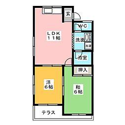 ムーニー室賀[1階]の間取り