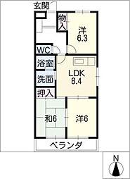 マリンハイツ藤[4階]の間取り