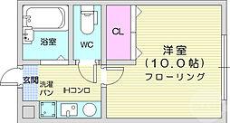 多賀城イーストB 1階1Kの間取り