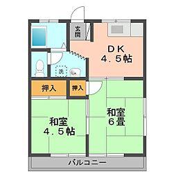 第三四季荘[2F号室]の間取り