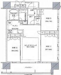 グランスイート阿倍野駅前ローレルコート[6階]の間取り
