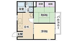大阪府摂津市鳥飼下2丁目の賃貸アパートの間取り
