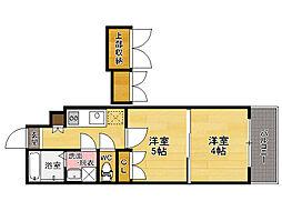 西鉄貝塚線 香椎宮前駅 徒歩1分の賃貸マンション 8階2Kの間取り