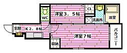 広島県広島市安佐南区川内6丁目の賃貸アパートの間取り