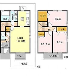 ファミール田井城[D102号室号室]の間取り