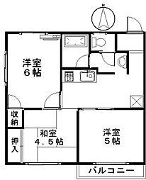 大竹コーポB[202号室号室]の間取り