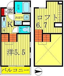 Glanz新松戸 1階1Kの間取り