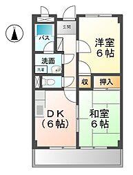 愛知県北名古屋市弥勒寺西3の賃貸マンションの間取り
