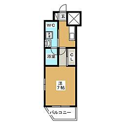 ベルグレードKAMEIDO 2階1Kの間取り