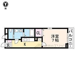 近鉄京都線 上鳥羽口駅 徒歩22分の賃貸アパート 2階1Kの間取り