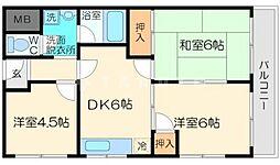 シャトー豊里[4階]の間取り