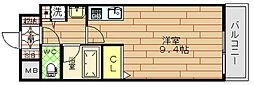 クリスタルグランツ北堀江[9階]の間取り