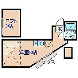 神奈川県横浜市港北区篠原東2丁目の賃貸アパートの間取り