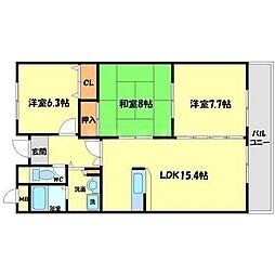 ラヴェール外院[3階]の間取り