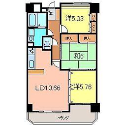 エスポワール東栄2[402号室]の間取り