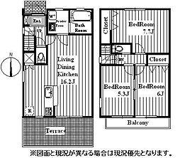 テラスハウス 1階3LDKの間取り