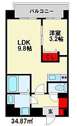 西鉄天神大牟田線 雑餉隈駅 徒歩5分の賃貸マンション 6階1LDKの間取り