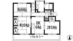 大阪府池田市神田2丁目の賃貸マンションの間取り