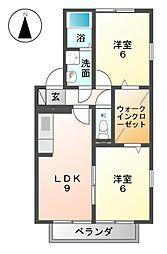 愛知県あま市木田加瀬の賃貸アパートの間取り