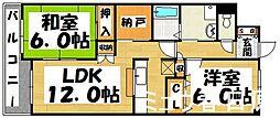福岡県春日市大土居1丁目の賃貸マンションの間取り