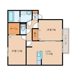 奈良県奈良市南紀寺町の賃貸アパートの間取り