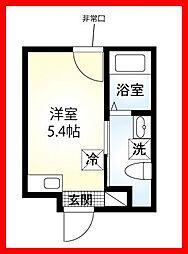 東京都台東区千束2丁目の賃貸アパートの間取り