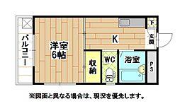 福岡県北九州市戸畑区初音町の賃貸マンションの間取り