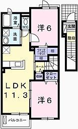 兵庫県宍粟市山崎町下広瀬の賃貸アパートの間取り