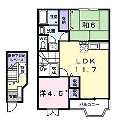 ルミエール八幡 2階2LDKの間取り