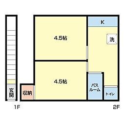 若月アパート[201号室]の間取り