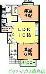 徳島県徳島市西新浜町2の賃貸アパートの間取り