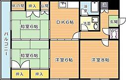 ミリオンコーポラスニュー鷹の巣[8階]の間取り