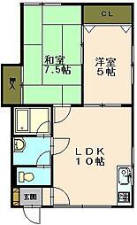 コーポミキ1[2階]の間取り