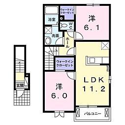 JR小海線 東小諸駅 徒歩5分の賃貸アパート 2階2LDKの間取り