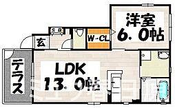 福岡県大野城市上大利2丁目の賃貸アパートの間取り