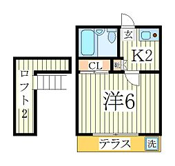 レオパレス江戸川台第12[2階]の間取り