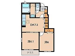 和歌山電鐵貴志川線 西山口駅 徒歩6分の賃貸アパート 1階2DKの間取り