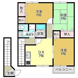 グリーンコート阪本2[2階]の間取り