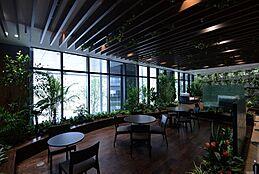 ドリンクや軽食を購入してその場で飲食できる、フォレストカフェ。(2階)