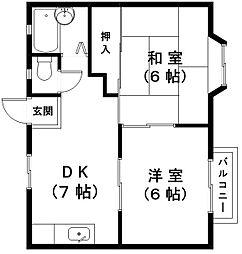 滋賀県東近江市垣見町の賃貸アパートの間取り