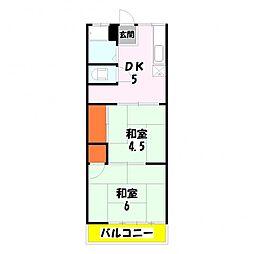 東京都足立区伊興5丁目の賃貸アパートの間取り