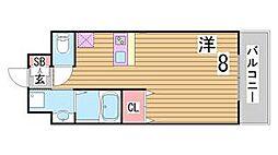 兵庫県神戸市中央区東雲通3丁目の賃貸マンションの間取り
