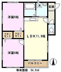 埼玉県さいたま市緑区東大門3丁目の賃貸アパートの間取り