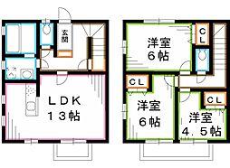[テラスハウス] 東京都小金井市中町2丁目 の賃貸【/】の間取り