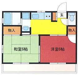 埼玉県さいたま市浦和区東高砂町の賃貸アパートの間取り