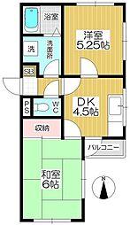 アビタシオン・ヤカタ[202号室]の間取り
